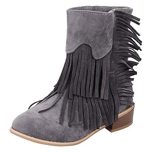 LuckyGirls Botas de Caña Alta para Mujer Flecos Botina de Nieve Calzado Moda Zapatos Planos