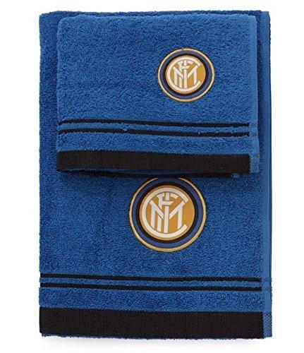 Set spugna coppia 2 pezzi 1+1 ospite 40 x 60 + asciugamano 60 x 100 official inter f.c. asciugamani 100% spugna di puro cotone nero azzurro