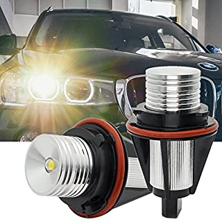 B-M-W Angel Eyes E39 E60 Lights Halo Ring LED Bulb E61 Marker 10W CREE Car E53 E63 E64 E65 E66 E83 E87 5 6 7 Series X3 X5 Error Free Xenon White 6000K - 1 Year Warranty (pack of 2)