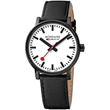 Mondaine evo2 40 mm sapphire  Watch with St. Steel IP black Case white Dial and black leather with black stitches Strap MSE.40111.LB