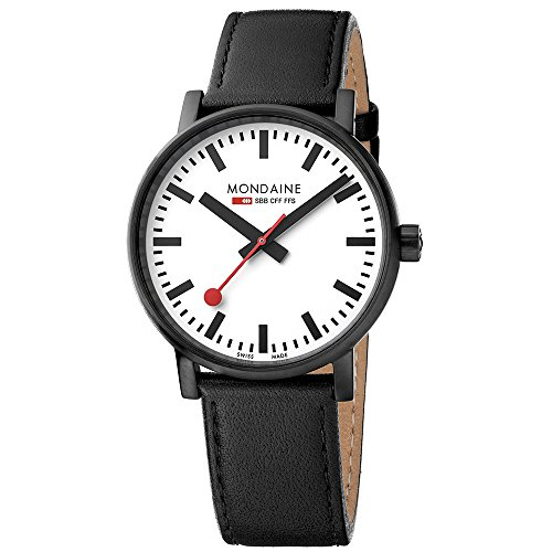 Mondaine Men's evo2 40 mm sapphire  Watch with St. Steel IP black Case white Dial and black leather with black stitches Strap MSE.40111.LB