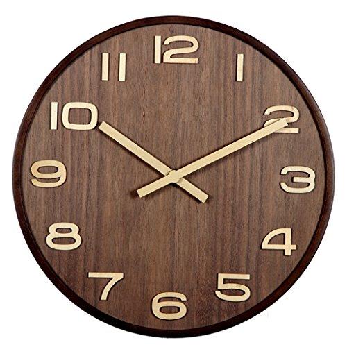 LIYANGZ Reloj De Pared De Madera Maciza Color Nogal