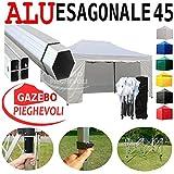 Gazebo Bianco 4,5x3 Pieghevole Alluminio a Forbice Ombrello Professionale Mercato Stand chiosco PVC a Fisarmonica piantone Esagonale