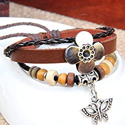 MORE FUN Flower Leather Fashion Charm Butterfly Metal Pendant Adjustable Button Bracelet by MORE FUN