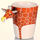 Tassen Set , Elefant , Affe und Giraffe , handgefertigtes und bemaltes 3 er - Keramik SET