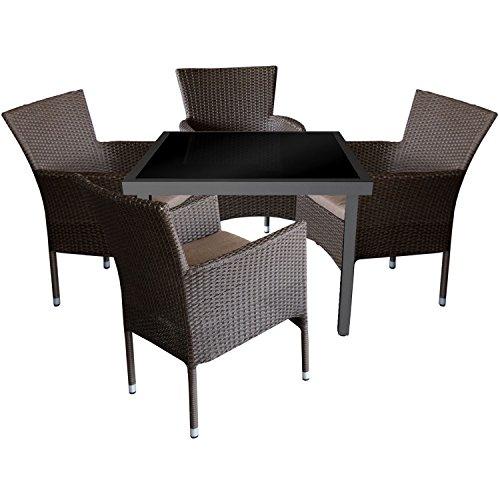 Multistore 2002 5tlg. Gartengarnitur Aluminium Glastisch 90x90cm mit Schwarzer Tischglasplatte + Rattansessel, stapelbar, Polyrattanbespannung, Braun-Meliert inkl. Sitzkissen