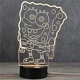 3D Nachtlicht LED Acryl Holzsockel USB Kreative Stereo Vision Tischlampe (Schwamm Baby)