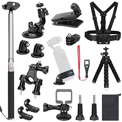SKYREAT Expansion Kit Accessoires pour DJI Osmo Pocket caméra Monte Poitrine Strap Bike Backpack Clip Support kit Voiture trépied