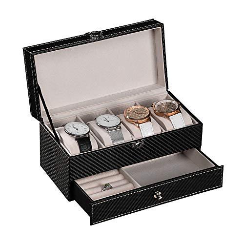 Aufbewahrungsbox Schmuckkasten für 4 Uhren Ringe Ketten Armband Schmuck Aufbewahrung Uhrenaufbewahrung Damen Uhrenaufbewahrungsbox Uhrenbox Uhrenkasten Uhrenschatulle Uhrenkoffer Schmuckkästchen