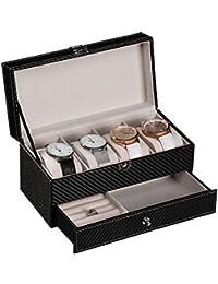 Caja Estuche de PU para Relojes Organizador joyero de Joyas para Guardar Relojes con 6 Compartimentos