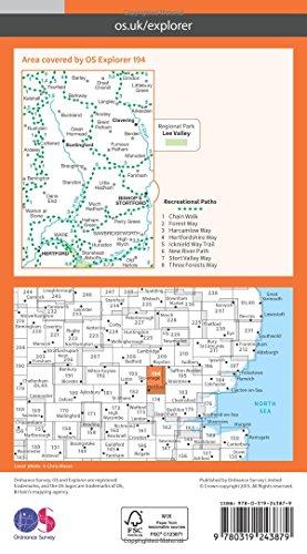 OS Explorer Map (194) Hertford and Bishop's Stortford