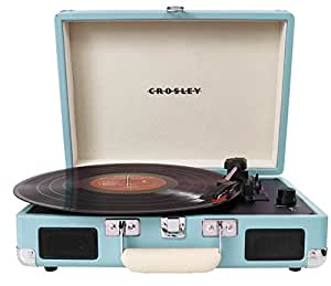 Crosley Cruiser Briefcase Style Three Speed Portable Vinyl Turntable with Built-In Stereo Speakers - Turquoise