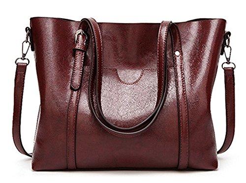 ECOTISH Premium Damen Handtasche Leder Henkeltasche Vintage Umhängetasche Schultertasche große Kapazität Shopper Tasche (Wein) (Wein-rot-handtasche)