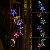Color-Changing LED Solar Mobile Wind Glockenspiel, Pathonor LED Wandleuchte Farbe Sechs Star & Moon Wind Chimes Für Haus / Party / Nacht Garten Dekoration rot Color-Changing