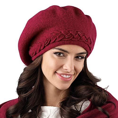 Kamea Damen Baskenmütze Kopfbedeckung Herbst Winter Wollgarn Bolzano, Weinrot,Uni