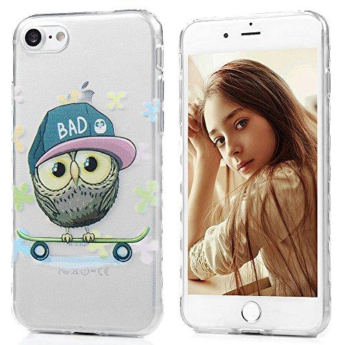 iPhone 7 Hülle Kasos iPhone 7 TPU Silikon Case Schutzhülle Ultra Dünn Painted Transparent Handy Cover Wellenförmige Border Handytasche mit Eule Design Eule