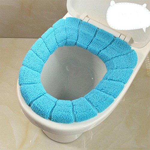Kicode Bad weicher Dicker Wärmer Strick-WC-Sitzbezug (Blau)