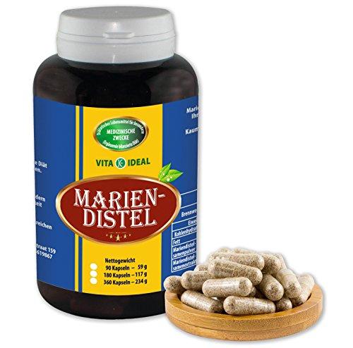 Mariendistel Samen 180 Kapseln (Milk Thistle) je 550mg, ohne Zusatzstoffe