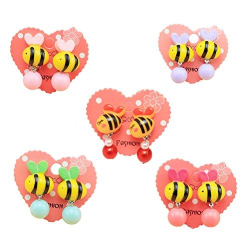 LUOEM Kinder Ohrringe Ohrclips Ohrstecker kleine Mädchen Kinder Schmuck Geschenk Ornamente Mädchen Schmuck verkleiden sich 5 Paare (Farbe sortiert)