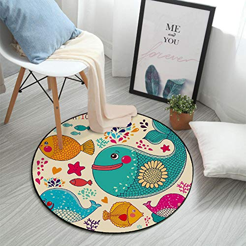 Thesaurus Teppich Fußmatte Nordic Style Round Coffee Table pad Hanging Basket Computer Chair Bedroom Bedside Cartoon mat, Cartoon Round 27_100cm