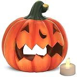 matches21 Kürbis Laterne Windlicht mit gruseliger Fratze Halloweendekoration Herbstdekoration Ton 21x19 cm inkl. LED Teelicht Beleuchtung
