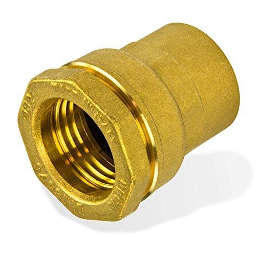 Caleffi 860420 Messing PE Rohr Verschraubung 20 mm x 1/2 Zoll Innengewinde Klemmverbinder für Kunststoffrohr