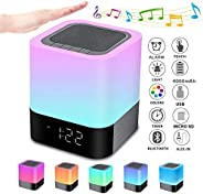 Bedside Lamp with Alarm Clock Bluetooth Speaker, Night Light Bluetooth Speaker Dimmable RGB Color Changing LED