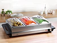 Our new, stainless steel, Hot Buffet Server and Warmer Tray is the perfect solution if you like to entertain family and friends or want to keep your food warm on the dining table.  The hot tray area has 3 buffet dishes (with lids) for keepin...