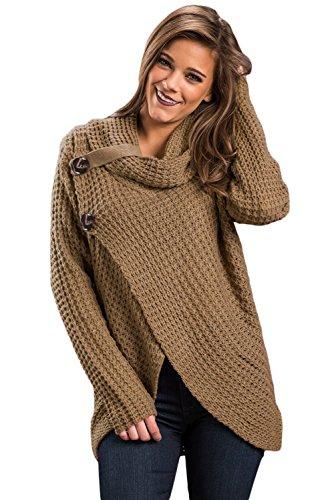 Neue Damen beige geschoben Wrap vorne Wasserfallkragen Winter Jumper Pullover Club Wear Warm Strickwaren Größe UK 14–16EU 42–44 (Schaltfläche Detail Pullover)