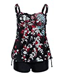 iDrawl Damen Two Piece Bademode Tankini Set Mit Schwarz Shorts,EU 42