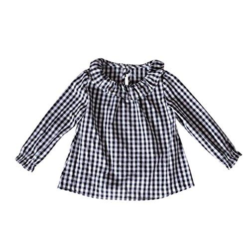 1-3 Jahr Kleinkind Kinder Karierte Hemd, DoraMe Baby Mädchen Puppenkragen Baumwolle Bluse Lange ärmel T-shirt Mode Lässig Pullover (Schwarz, 18 Monate)