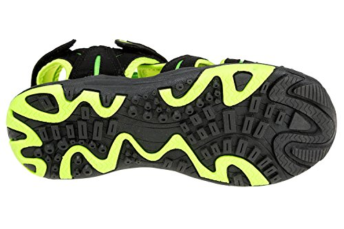 GIBRA® Herren Trekkingsandalen, mit Lederinnensohle, mit Klettverschluss, schwarz/neongrün, Gr. 41-46 Schwarz/Neongrün