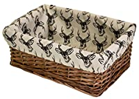 east2eden Brown Wicker Shallow Storage Basket & Line Drawn Stag Liner in Choice of Sizes & Deals (Large)