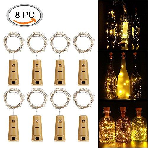 LED Bottiglia Luci, Luce bottiglia Bianco caldo,8PCS Bottiglie di vino di luci,Tappo del vino bottiglia fata luci String Luci,LED per la decorazione della bottiglia fai Barbecue, Riunirsi, Festa, Matrimonio