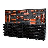Aufbewahrungsbehälter mit Wandbefestigung, Größe XS, 75 Stück, Schwarz / Orange