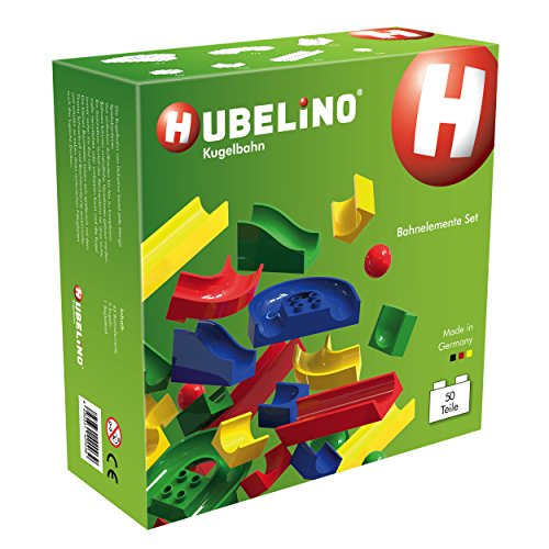 Preisvergleich Produktbild Hubelino 420039 - Kugelbahn - Bahnelemente Set - ab 4 Jahre (100% kompatibel mit Duplo) - 50 Teile