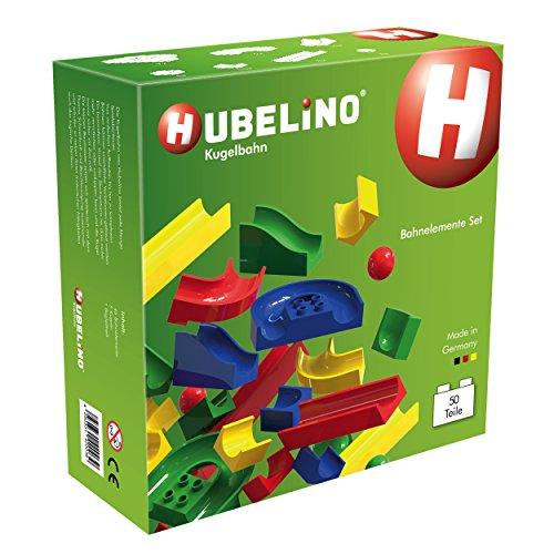 Hubelino 420039 - Kugelbahn - Bahnelemente Set - ab 4 Jahre (100% kompatibel mit Duplo) - 50 Teile (Holz-bausteine-set)