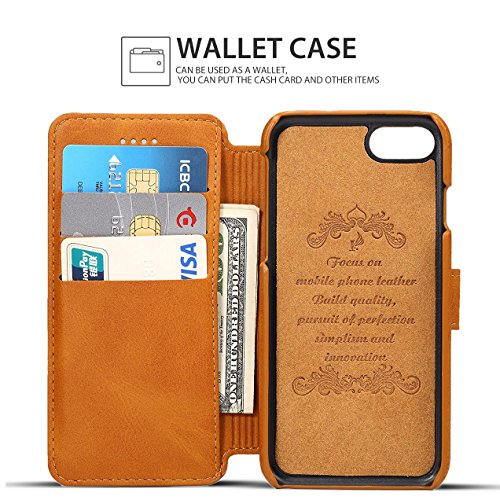 iPhone 8 Plus Hülle, Pasonomi PU Ledertasche Flip Case Tasche Schutzhülle mit Kartenfächer und Standfunktion für iPhone 8 Plus & iPhone 7 Plus 5.5 Zoll (Grau) Braun
