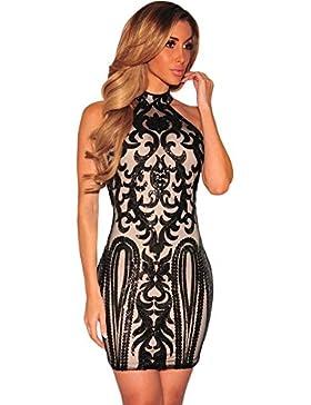 ZQA&N Falda mujer _ elegante vestido mangas, negro, M