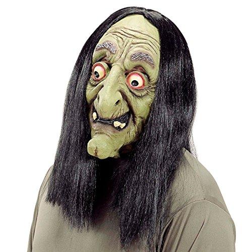 NET TOYS Hexenmaske mit Haaren Hexe Maske mit Perücke Hexen Gesicht Faschingsmaske Horror Gummimaske Horrormaske Baba Jaga Halloween Kostüm ()