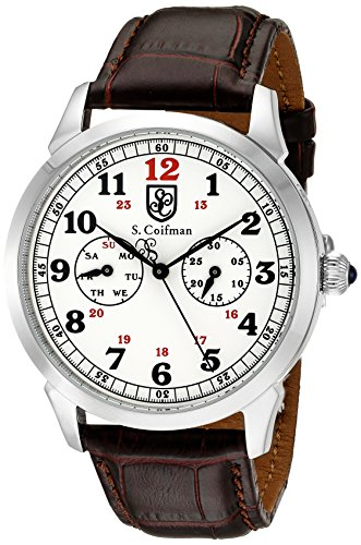 S. Coifman 'Men's' Swiss Quartz Stainless Steel and Leather Automatic Watch, Color:Brown (Model: SC0362)
