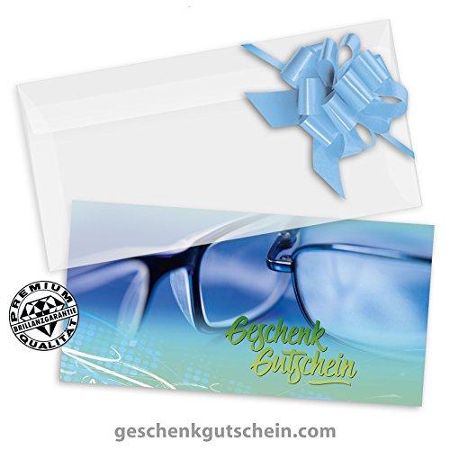 100 Stk Hochwertige Gutscheinkarten Geschenkgutscheine DINlang + 100 Stk. Kuverts + 100 Stk. Schleifen für Optiker, Brillenhändler, Brillenläden OP9252, LIEFERZEIT 2 bis 4 Werktage!