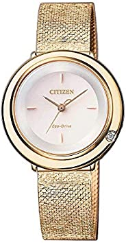 CITIZEN Womens Solar Powered Watch, Analog Display and Stainless Steel Strap - EM0643-84X