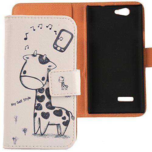 Lankashi PU Flip Leder Tasche Hülle Case Cover Schutz Handy Etui Skin Für ZTE Blade L2 Giraffe Design