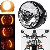 Motorcycle LED Headlight - Motorfiets Ronde Headlight met Indicator Universal LED DrijfLicht Halogeen Front Light