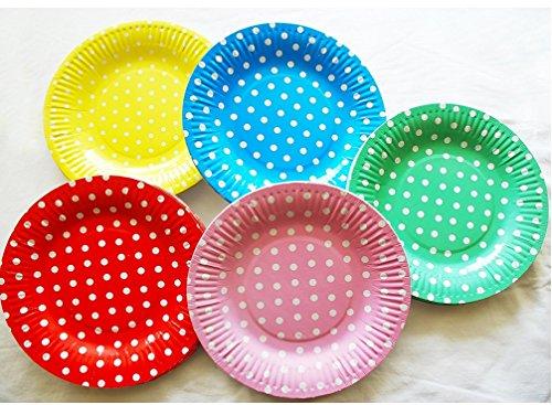 ZoraQ 50 Stück farbige Einweg Spot Runde Thema Party Grill Kuchen Dessert Pappteller