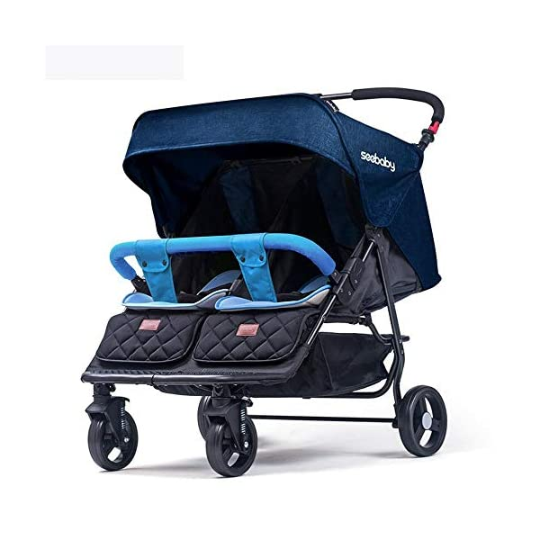 ZhiGe Twin Stroller Detachable Lightweight Reclining Folding Trolley Suspension Second Child Baby Stroller 80 * 75 * 105cm ZhiGe Light city stroller Ideal for a daily life with bus or train Compact folding size 1