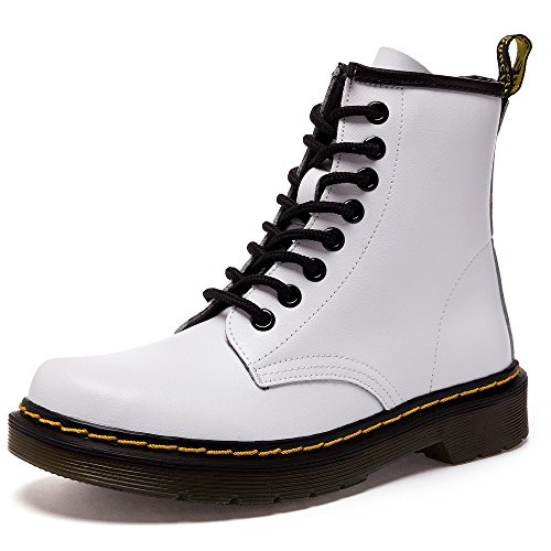 SITAILE Unisex-Erwachsene Bootsschuhe Derby Schnürhalbschuhe Kurzschaft Stiefel Winter Boots für Herren Damen Weiß EU39