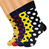 FULIER Mens 4 Pack Colorful Funky Cotton Rich Calcetines para la pantorrilla, Cómodo, Transpirable, Smart Design Crew Socks
