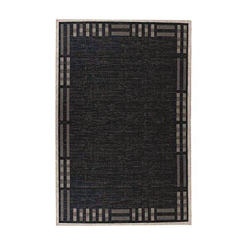 havatex Sisal-Look Flachgewebe Teppich Lux Frame 2 Schwarz - robuste Kunstfaser Sisal-Optik mit Bordüre | pflegeleicht & strapazierfähig, Farbe:Schwarz, Größe:120 x 170 cm